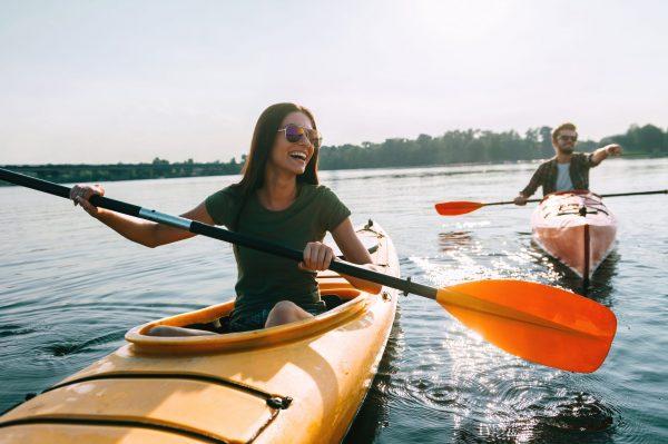 Couple kayaking Earth and Water Adventures Kayak Tours